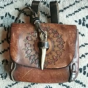 Vintage boho style leather pouch